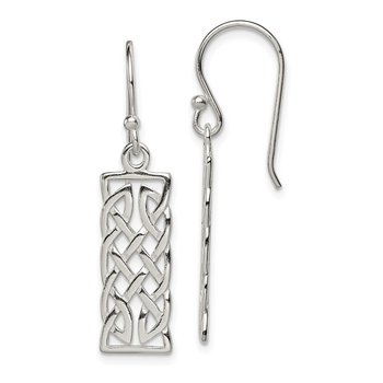 Sterling Silver Polished Rectangular Dangle Earrings
