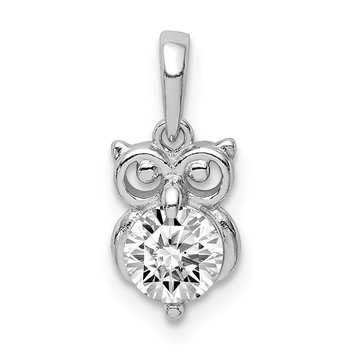 Sterling Silver Rhodium Plated CZ Owl Pendant