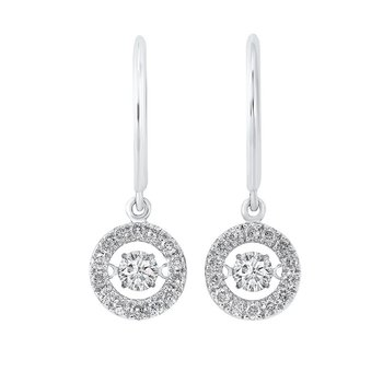 14K White Gold Rhythm of Love Halo Prong Diamond Earrings (1 ct. tw.)
