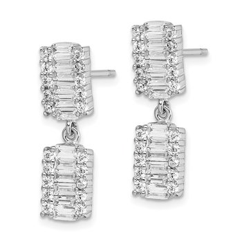Sterling Silver Rhodium-plated Baguette CZ Post Dangle Earrings