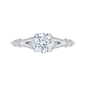 18K White Gold Round Diamond Vintage Engagement Ring with Split Shank (Semi-Mount)