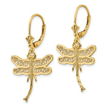14k Dragonfly w/Filigree Wings Leverback Earrings