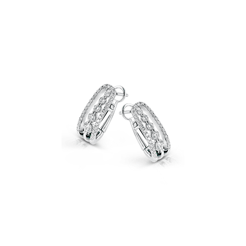 Simon G Simon G 18kt white gold diamond hoop earrings. Diamond =0.69ct tw. Available at our Halifax store.