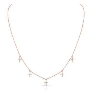 Rose Gold Piety Dangling Cross Necklace
