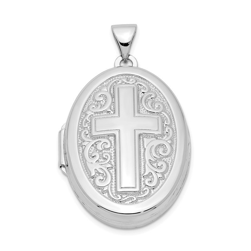 Arizona Diamond Center Collection Sterling Silver Rhodium-plated Oval Cross Locket