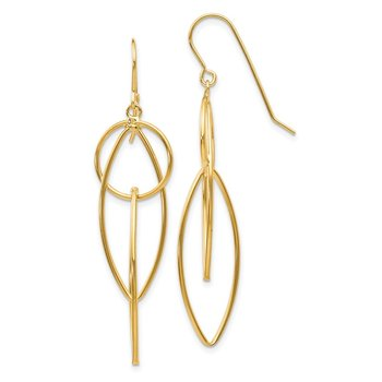 14k Polished Oblong Dangle Earrings