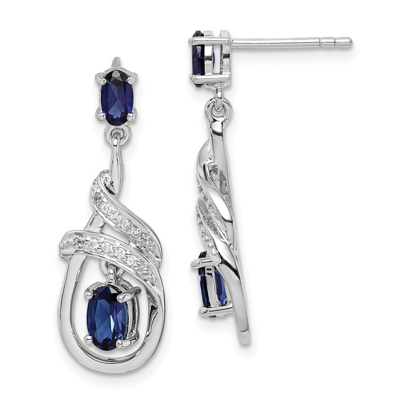 J.F. Kruse Signature Collection Sterling Silver Rhodium-plated Lab Created Sapphire CZ Post Earrings
