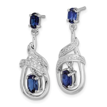 Sterling Silver Rhodium-plated Lab Created Sapphire CZ Post Earrings