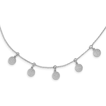Sterling Silver Rhodium-plated CZ Circle Dangle Adjustable Necklace