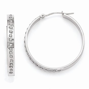 14k White Gold Diamond Fascination Round Hinged Hoop Earrings