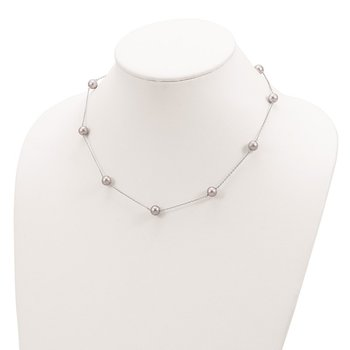 Sterling Silver RH 7-8mm Grey FWC Pearl 9 Station Necklace