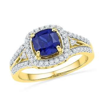 10kt Yellow Gold Womens Lab-Created Blue Sapphire Solitaire Ring 2.00 Cttw
