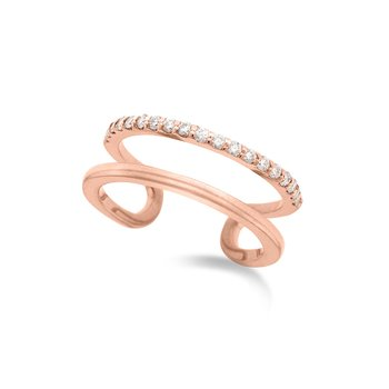 Diamond Double Row Midi Ring (Size 3.5) in 14K Rose Gold with 19 Diamonds Weighing .16 ct tw