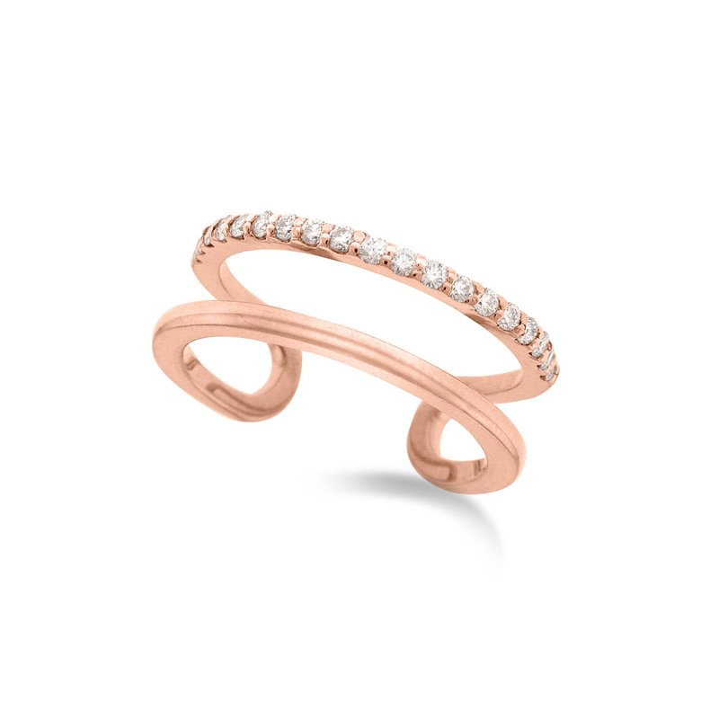 MAZZARESE Fashion Diamond Double Row Midi Ring (Size 3.5) in 14K Rose Gold with 19 Diamonds Weighing .16 ct tw
