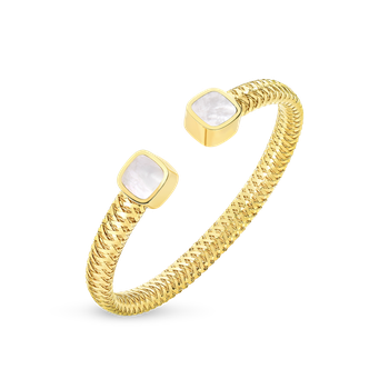 18Kt Gold Flexible Cuff With Mother Of Pearl