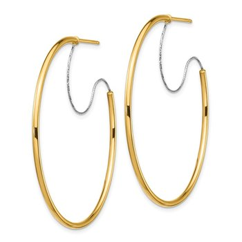 14K Two-Tone Large 2x45mm D/C Wire Polished Hoop Earrings