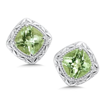 Sterling Silver Green Amethyst Post Earrings