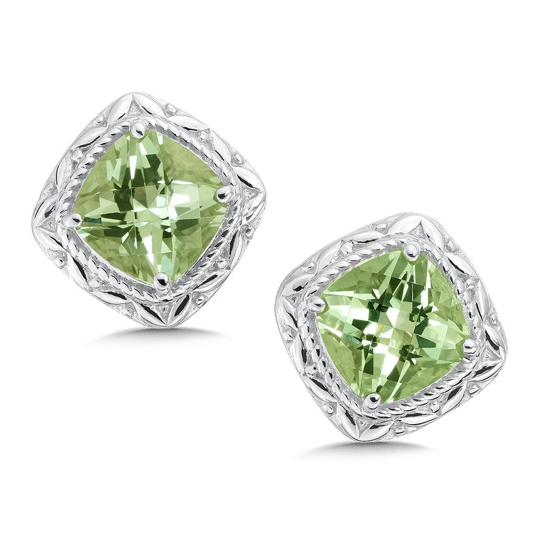 Colore Sg Sterling Silver Green Amethyst Post Earrings