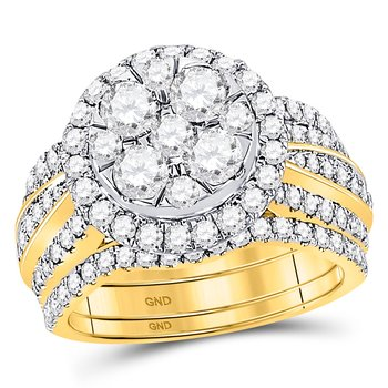 14kt Yellow Gold Womens Round Diamond 3-Piece Bridal Wedding Engagement Ring Band Set 2-1/2 Cttw