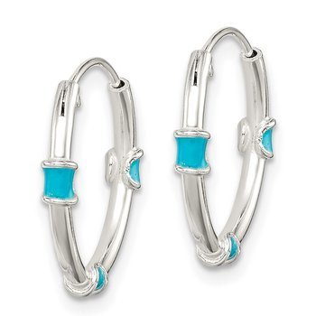 Sterling Silver Polished Light Blue Enamel Endless Hoop Earrings