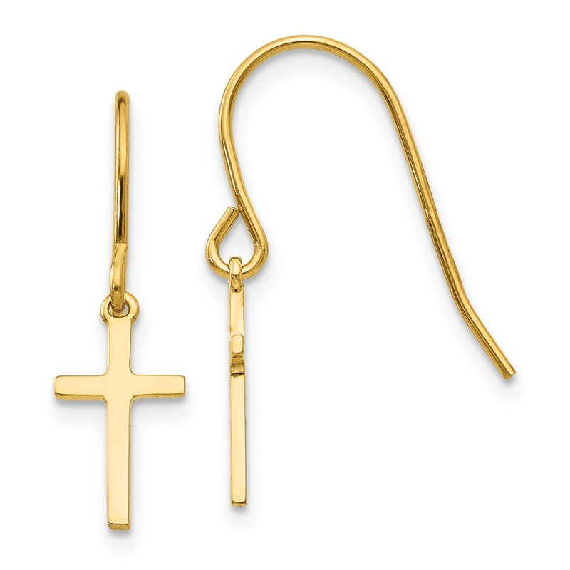 Quality Gold 14k Dangle Cross Shepherd Hook Earrings