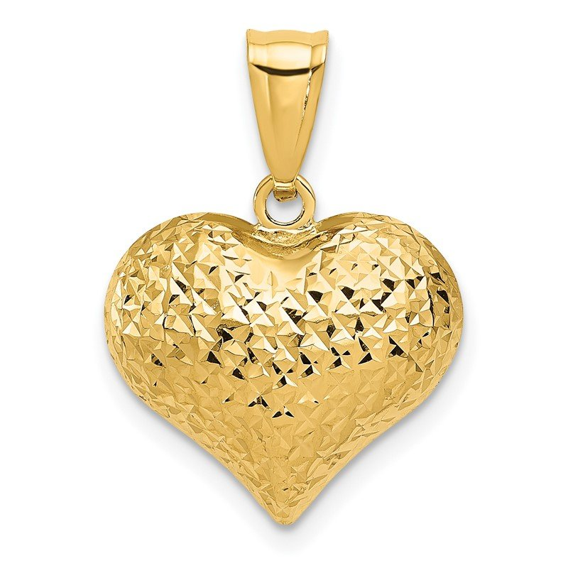 Quality Gold 14K Polished and Textured 3-D Heart Pendant