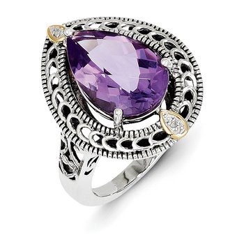 Sterling Silver w/14k Diamond & Amethyst Ring