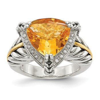 Sterling Silver w/14k Citrine & Diamond Ring