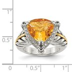 Shey Couture Sterling Silver w/14k Citrine & Diamond Ring