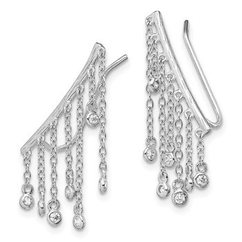Sterling Silver Rhodium-plated Dangle CZ Ear Climber Earrings