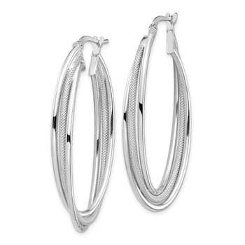 14k White Gold Polished and Textured Twisted Fancy Oval Hoop Earrings
