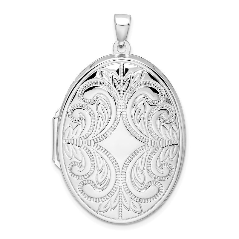 Quality Gold Sterling Silver Rhodium-plated Oval Scroll Locket