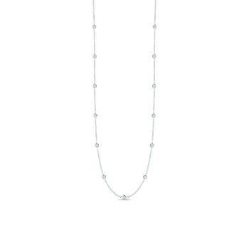 18KT GOLD 30 STATION LONG DIAMOND NECKLACE