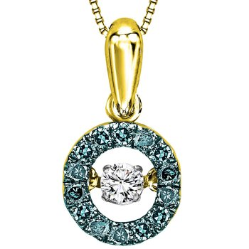 14K Blue & White Diamond Rhythm Of Love Pendant 1/4 ctw