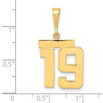 14k Medium Polished Number 19 Charm