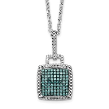 Sterling Silver Rhod Plated Blue Diamond Square Pendant Necklace