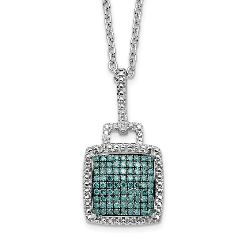 Quality Gold Sterling Silver Rhod Plated Blue Diamond Square Pendant Necklace