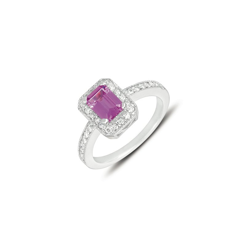 S. Kashi  & Sons Pink Sapphire & Diamond Ring