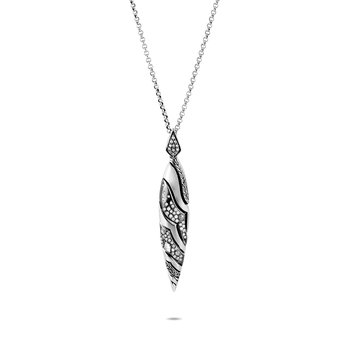 Lahar Marquise Pendant Necklace in Silver with Diamonds