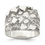 Quality Gold Sterling Silver Men's Nugget Ring