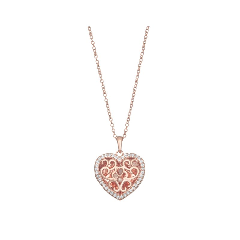 With You Lockets Mary Locket Necklace Rose Gold