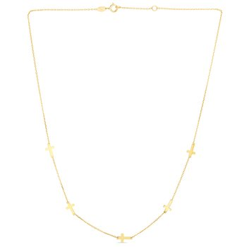 14K Gold Cross Station Necklace
