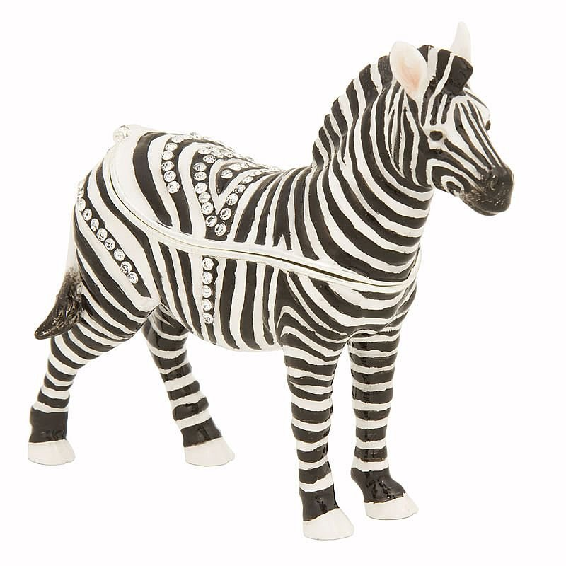 Luxury Giftware by Jere Zach the Zebra Trinket Box with Swarovski crystal