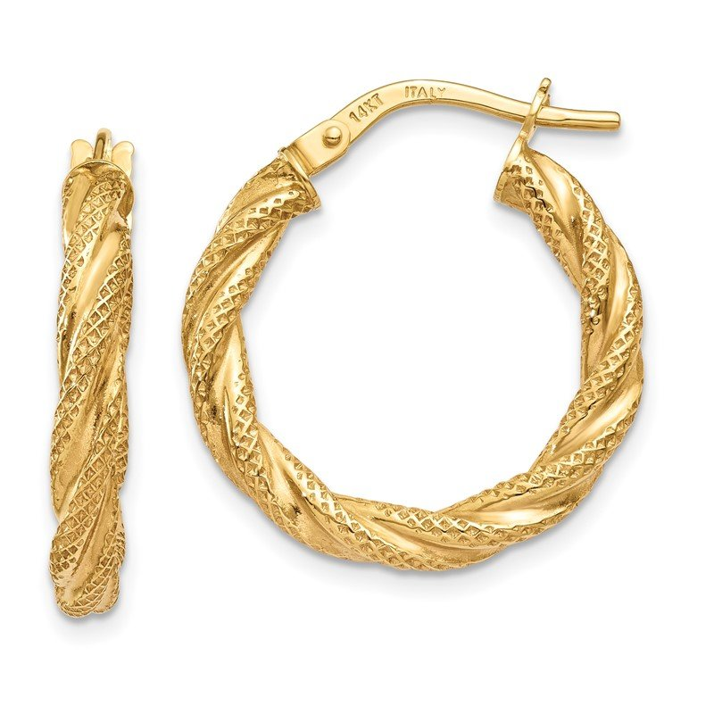 JC Sipe Essentials 14K Twisted Textured Hoop Earrings