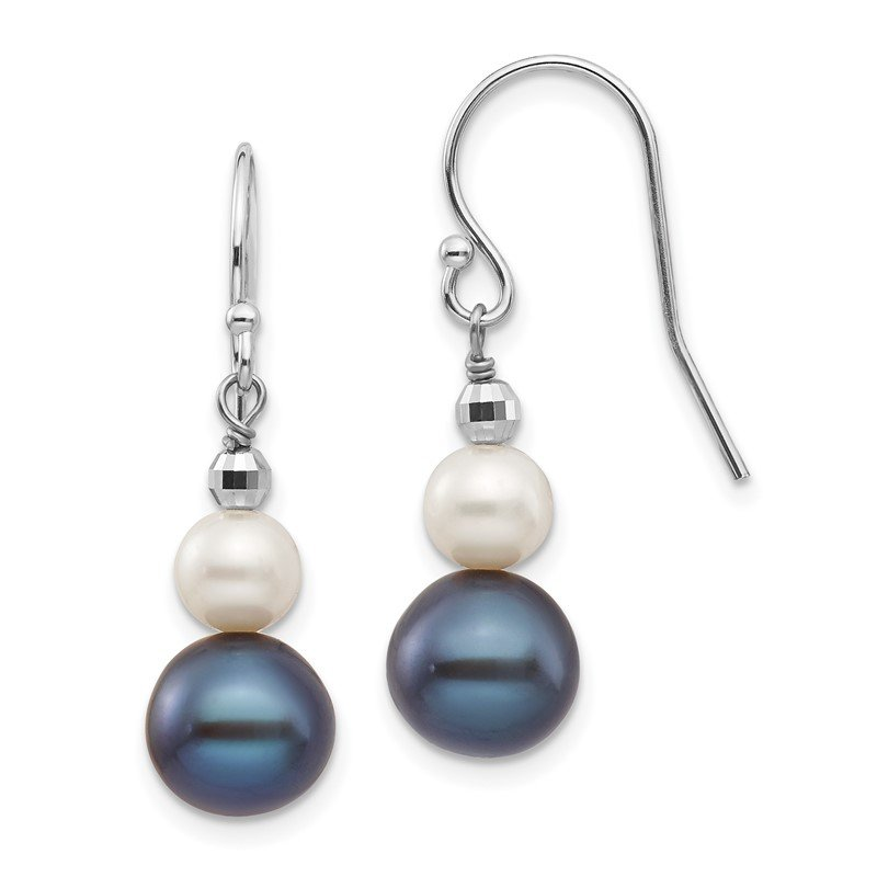 Quality Gold 14K White Gold 6-9mm Semi-round FWC Pearl Graduated Dangle Earrings