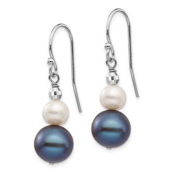 14K White Gold 6-9mm Semi-round FWC Pearl Graduated Dangle Earrings