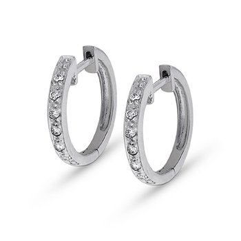Diamond Mini Hoop Earrings in 14k White Gold with 14 Diamonds weighing .14ct tw.