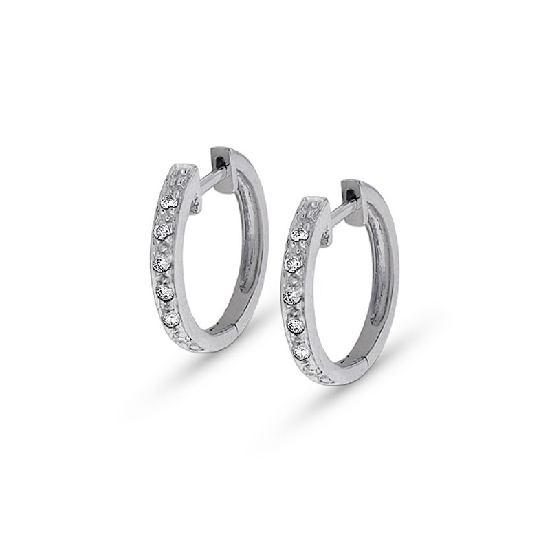 KC Designs Diamond Mini Hoop Earrings in 14k White Gold with 14 Diamonds weighing .14ct tw.