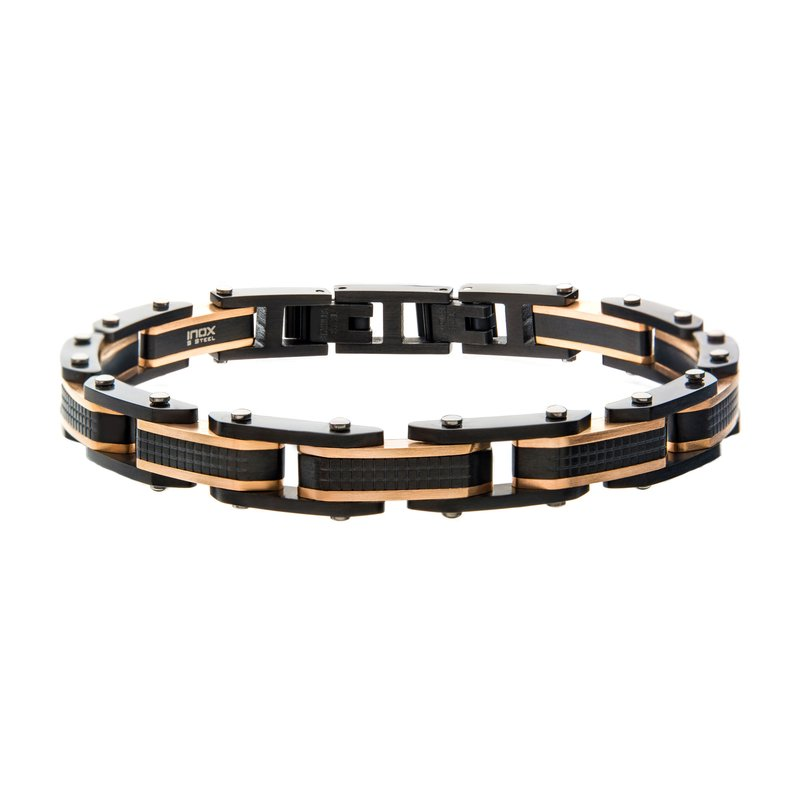 INOX Steel Black Plated and Rose Gold Plated Link Bracelet
