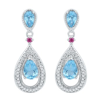 10kt White Gold Womens Oval Lab-Created Blue Topaz Diamond Dangle Earrings 1-5/8 Cttw